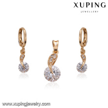 62229 Xuping new design fashion delicate beautiful dinner pendant charm gold plated jewelry sets