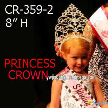 8 pulgadas de diamantes de imitación Big Princess Crown Girls