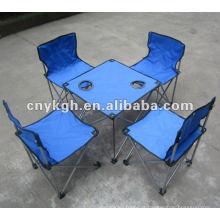 Mesa de acampamento dobrável e conjuntos de cadeira VLA-6057B
