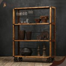 Vintage Industrial Bookshelf Wooden Stroage Furniture