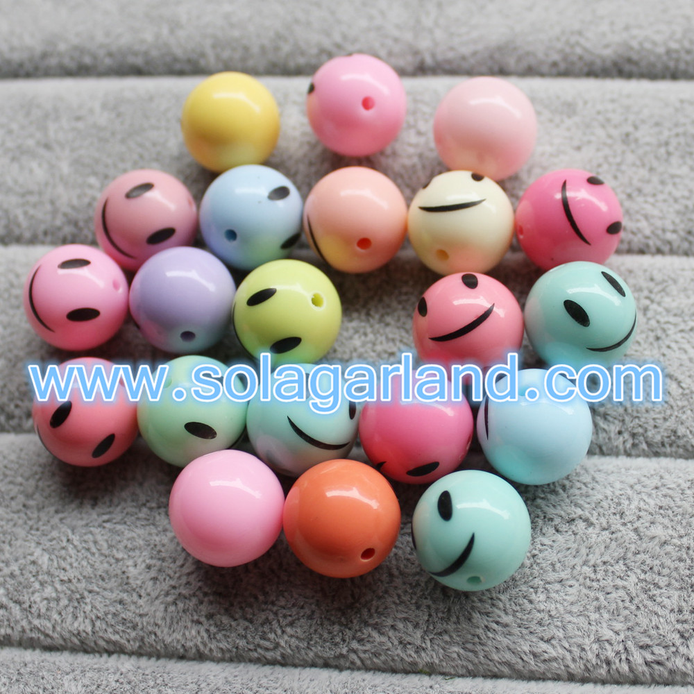 Acrylic Plastic Smile Face Beads
