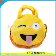 Caliente de la calidad de la moda encantadora lindo color amarillo lindo color emoji pelusa cordón bolso