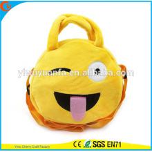 Hot Quality Charming Fashion Funny Cute Round Yellow Color Emoji Plush Drawstring Handbag