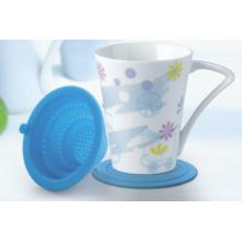 Porzellanbecher mit Silikon Tee Trichter und Deckel