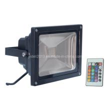 Al aire libre IP65 impermeable RGB LED proyector de luz de inundación 10W controlador remoto