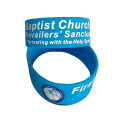 Blue Custom LOGO Printed Silicone Wide Band Bracelet