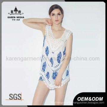 Ladies Fashion Flower Print Vest with Crochet Trim