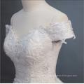 Robe de mariée blanche de luxe à manches courtes perlée lourde robe de mariée 2018 avec grande queue