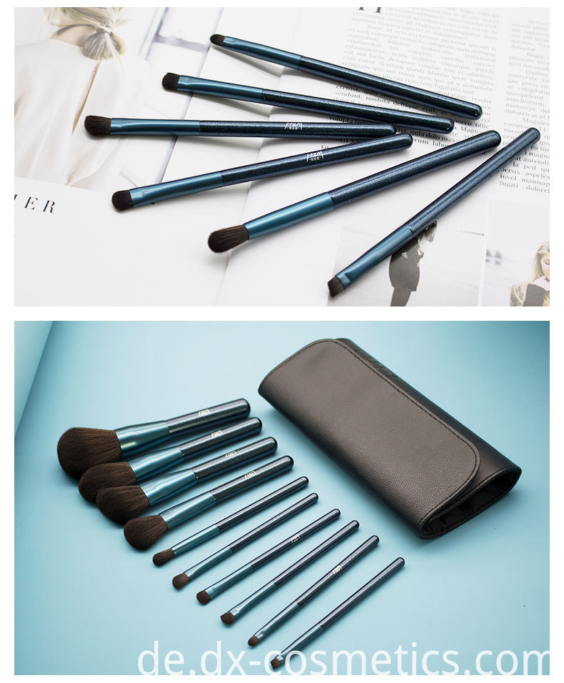 Blue Glitter Diamond Makeup Brushes Set