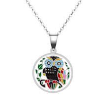 Stainless Steel  Enamel Owl Pendant Jewelry Necklace