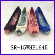 El nuevo talón de cuña elegante del zapato de la cuña del color del verano de las señoras calza los zapatos de la cuña