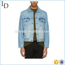 Chaqueta de mezclilla 100% algodón regular personalizado denim bombardero hombres chaqueta