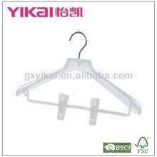 Plastic coat hanger with clips
