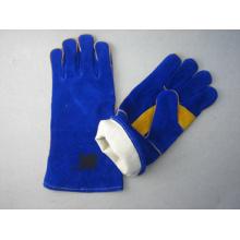 Blauer Cow Split Leder Handschweiß Arbeitshandschuh - 6535