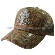 Shinning falsa tela de cuero personalizado bordado sombrero de camionero (TMT1917)