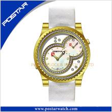 Double mouvements suisses pour la dernière montre-bracelet en acier inoxydable de quartz de ventes chaudes