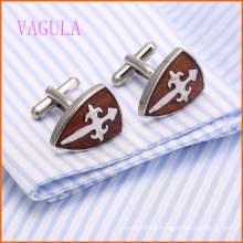 VAGULA Stylish French Shirt Gemelos de madera roja de acero inoxidable 128