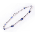 Sterling Silver Bracelet Set with Blue Sapphire Gem Stone and Diamonds