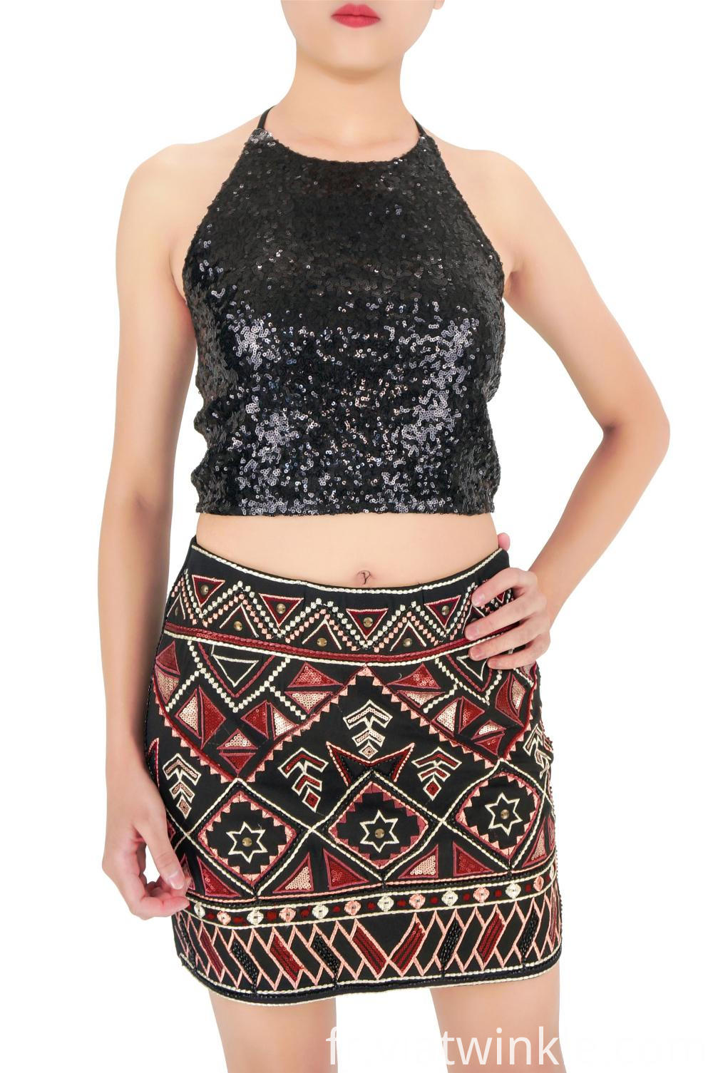 Sequin Embroidered Mini Skirts