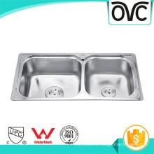 Fregadero de cocina de acero rectangulares con doble cuenco Fregadero de cocina rectangulares de acero con dos cuencos
