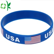 Hoa Kỳ Cờ / Thư Embossed Tuỳ Quốc gia Logo Silicone Bands