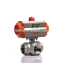 KLQD Brand Stainless Steel 316 Ball Valve Pneumatic 3 Way Ball Valve