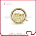 25mm ou 30mm forme ronde coffe et médaillon flottant de mémoire vivante en verre d'or
