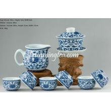 Juego de té de flores de crisantemo (un gaiwan, una jarra + 6 tazas)