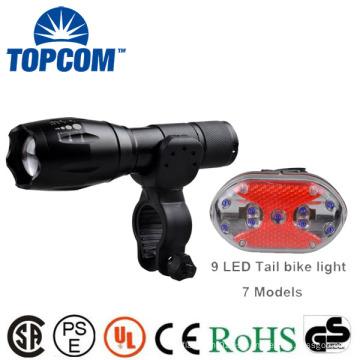 Resplandor impermeable en la oscuridad G700 E17 Tipo bicicleta Zoomable Latern Luz de la lámpara y 9 LED Set de luz trasera