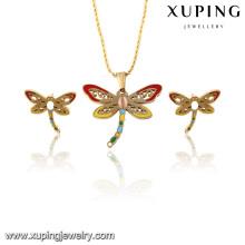 63815 Moda Delicado Banhado A Ouro Imitação De Jóias Em Aço Inoxidável Conjunto De Jóias para As Mulheres