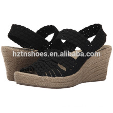 2016 Summer Latest Model Woven Material Upper Ladies Wedge Shoes