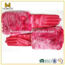 Gants en cuir à la mode et à l'hiver chaud Gants roses en cuir avec fourrure