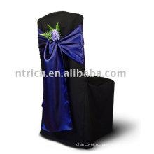 Атласная стул крышку створки, стул галстук, темно синий стул ленты