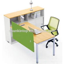 Used office single workstation peach wood and warm white upholstery, Pro office furniture factory (JO-4049-1)