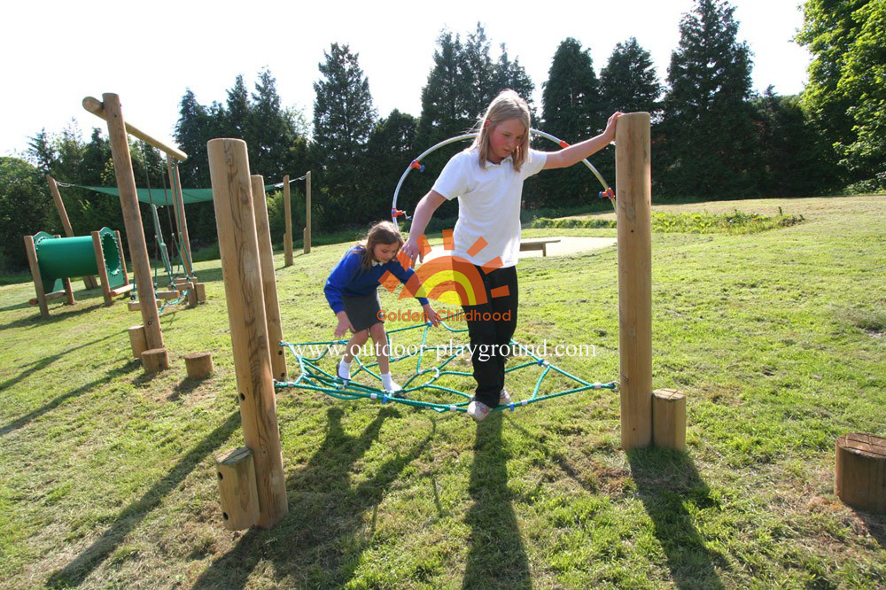children's climbing net frame on park