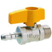 J2005 válvula de bola de gas de latón, válvula de bola de latón pn25, cromo / niquelado, manija amarilla