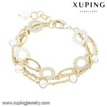 74433 Fashion Elegant 14k Pulsera de joyería de imitación chapada en oro con perlas