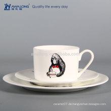 Personalisierte Design Runde Form Feines Porzellan Geschirr Set, Porzellan Dinner Teller und Cup
