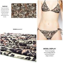 Alta elasticidad Poliéster Spandex traje de baño tejido de estampado de leopardo