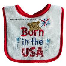 Custom Made American Baby Wear USA Topic Cartoon Cotton White Baby Bibs