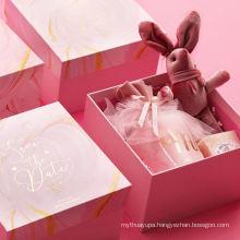 Brothersbox cheap jewelry box printing logo wholesale cardboard lid and base Romantic pink cute bridesmaid transparent gift box