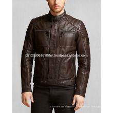 OEM service high fashion wholesale zipper biker TAN BROWN leather jacket