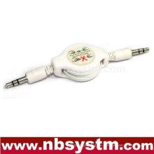 3,5 Stereo-Stecker auf 3,5 Stereo-Stecker versenkbares Kabel