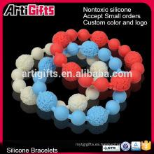 Pulsera de bolas de cuentas redondas inspiradoras simples muestras gratis