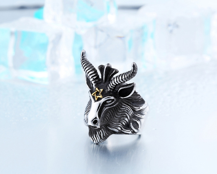 Stainless Steel Ring For Men's Satanic Rams Ring