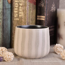 Ceramic Candle Cup with Grey Coating Decoration for Table Centerpieces