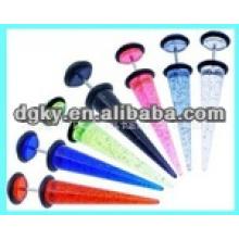 Piercing de orelha de aço cirúrgico com muitas tampas de cores