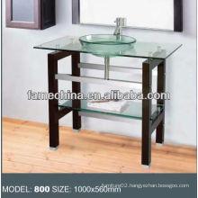 Wood shelf Glass bathroom vanity stainless steel bracket glass vanity