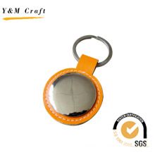 Metal and Leather Tag Keychain Accessosries with Steaching (Y02100)