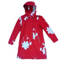 T-shirt manches longues rouge capuchon PVC imperméable pour femme